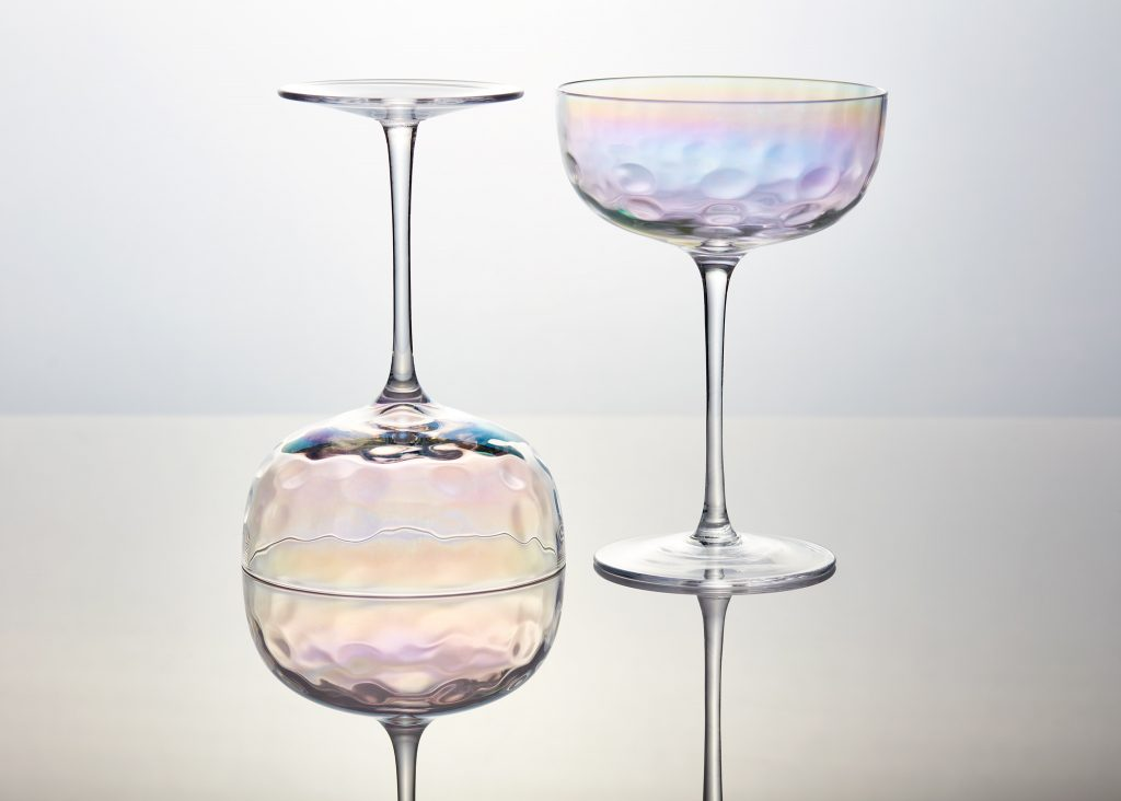 Product Photography done for champagne glasses artfully to display their aesthetics