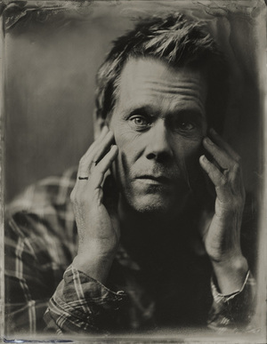 monochrome image of Kevin Bacon