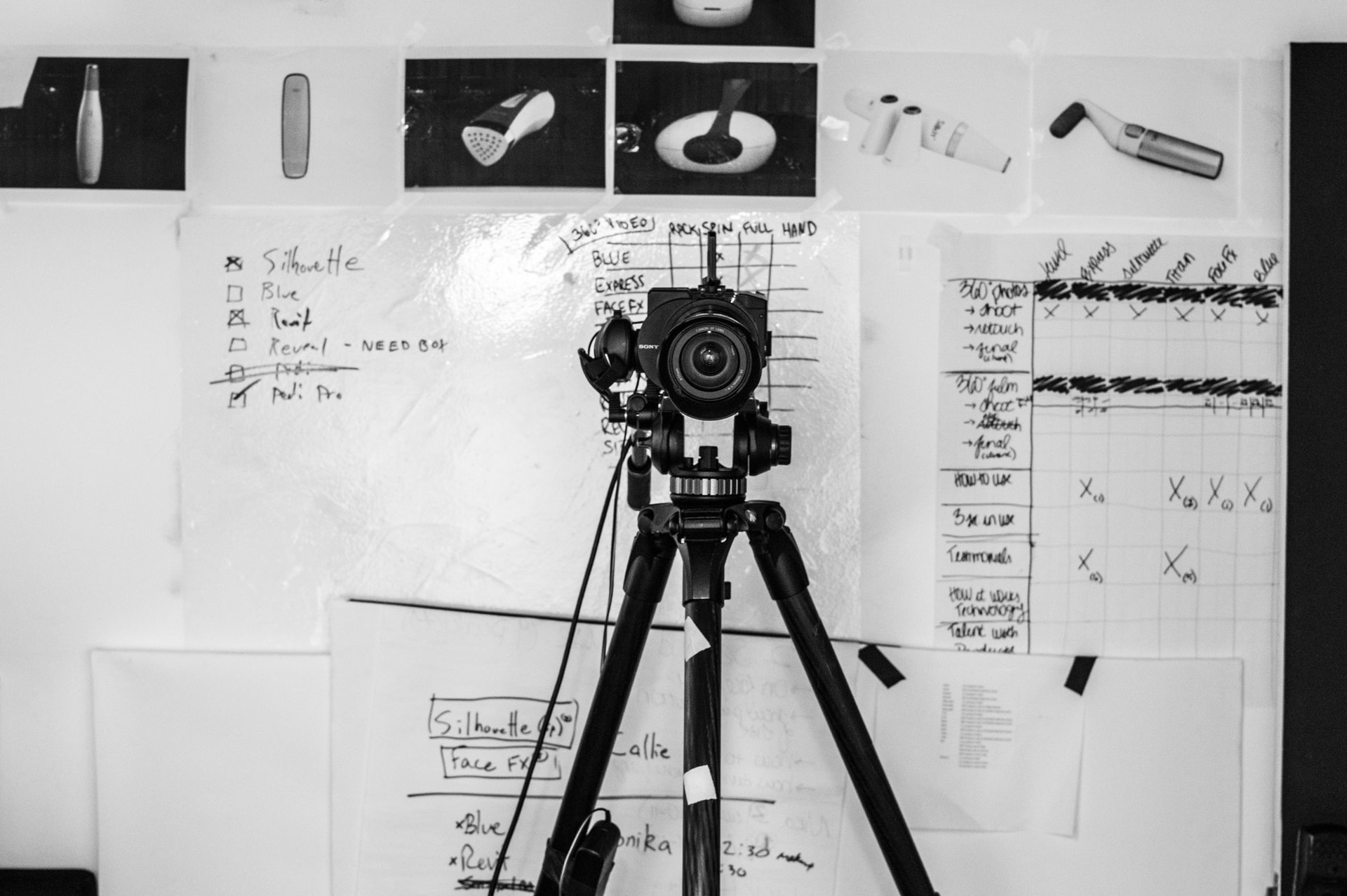 Fitness Photoshoot; A wall scribbled with researched papers behind a camera